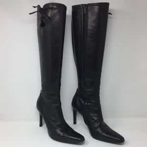 Ralph Lauren Tall Leather Black Boot - Zip Up